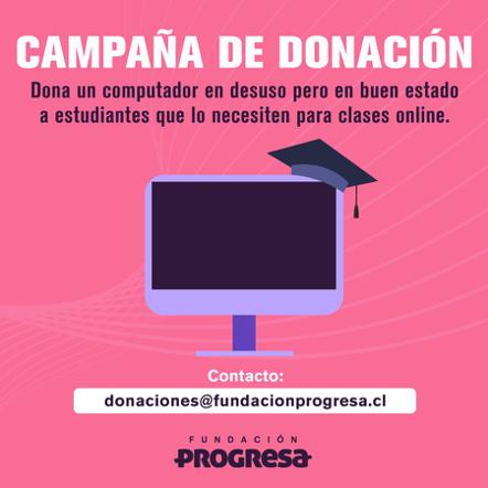 COVID-19: Fundación Progresa impulsa campaña de donación de computadores para estudiantes